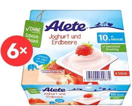 ALETE Jogurtový dezert jahodový 6× 400 g - Dětský příkrm