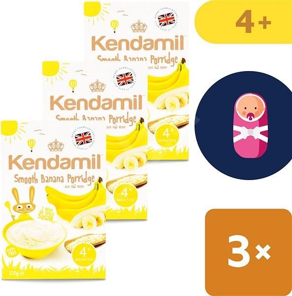 Kendamil Jemná dětská banánová kaše 3× 125 g - Mléčná kaše