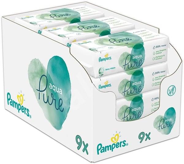 PAMPERS Aqua Pure vlhčené ubrousky 9× 48 ks - Dětské vlhčené ubrousky