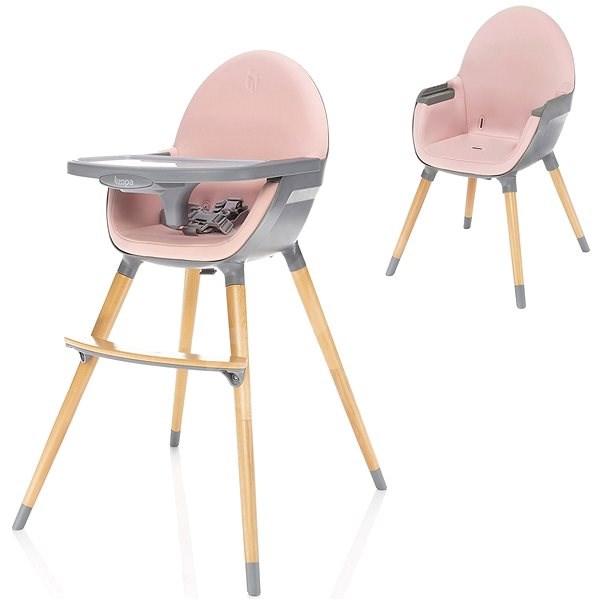 Zopa Dolce - pink/grey - Jídelní židlička