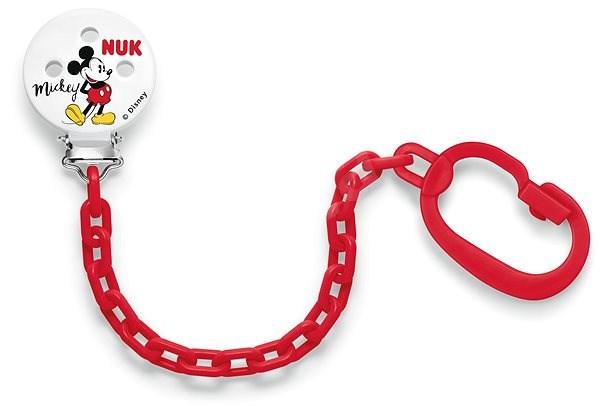 NUK Řetízek na dudlík Mickey Mouse - červená - Klip na dudlík