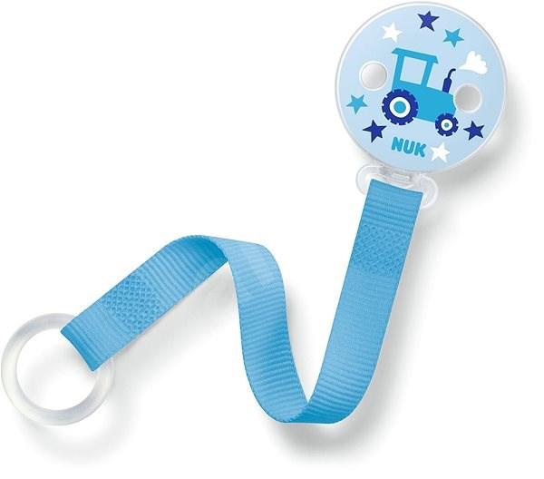 NUK stužka na dudlík - modrá - Klip na dudlík