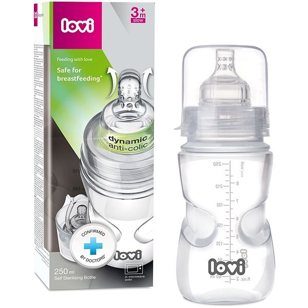 LOVI Samosterilizující láhev 250 ml - super vent - Kojenecká láhev