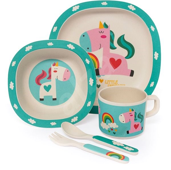 Zopa Bambusová sada nádobí - Unicorn - Dětská jídelní sada