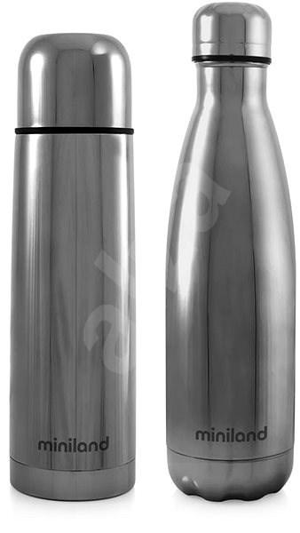 MINILAND Sada termosky a termoláhve DeLuxe stříbrná - Dětská termoska