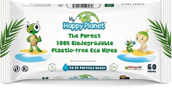 Happy Planet 100% BIO odbouratelné vlhčené ubrousky 60 ks - Dětské vlhčené ubrousky