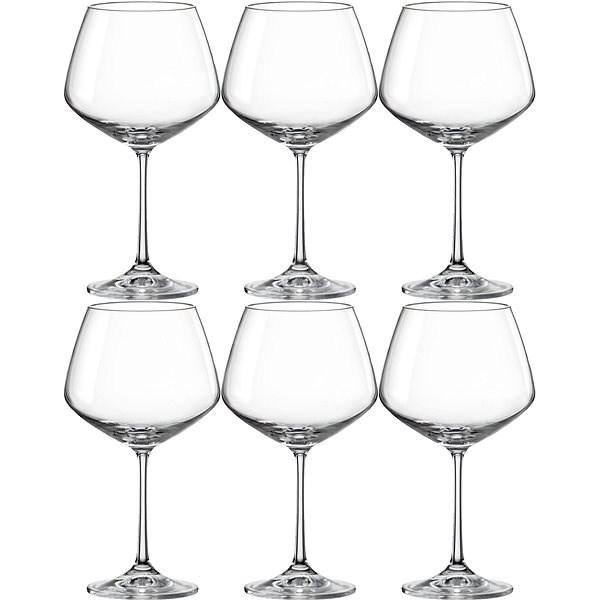BOHEMIA CRYSTAL Sklenice na červené víno 580 ml GISELLE 6ks - Sklenice na víno