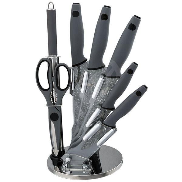 BerlingerHaus Sada kuchyňských nožů 8ks Granit Diamond Line šedý - Sada nožů