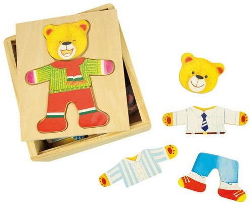 Dřevěné oblékací puzzle v krabičce - Pan Medvěd - Puzzle