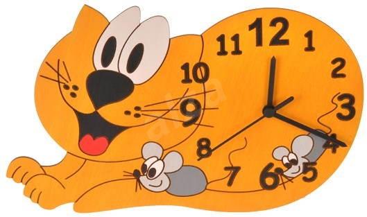 Dětské dřevěné hodiny - Kočka - Hodiny do dětského pokoje