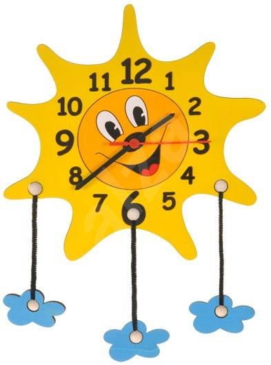 Dětské dřevěné hodiny - Sluníčko s mráčky - Hodiny do dětského pokoje