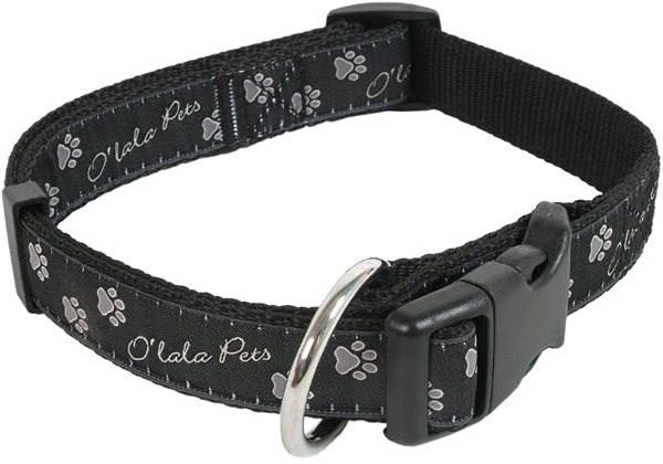 Olala Pets obojek tlapky 25 mm x 40-66 cm, šedá - Obojek pro psy