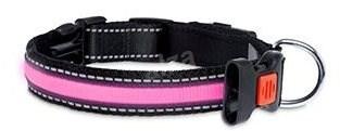 Karlie-Flamingo LED nylonový obojek růžový s USB nabíjením, 48cm - Obojek pro psy
