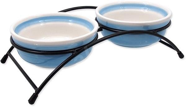 MAGIC CAT Set misky keramické se stojánkem modré 2 × 12,5 × 5 cm - Miska pro kočky