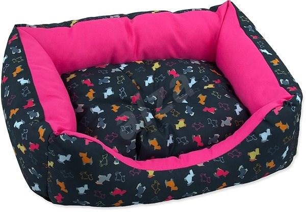 DOG FANTASY Sofa 83×70×20cm origami pes mix černo-růžová - Pelíšek pro psy