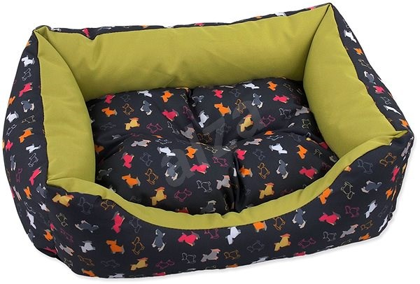DOG FANTASY Sofa 93×80×22cm origami pes mix černo-zelená - Pelíšek pro psy