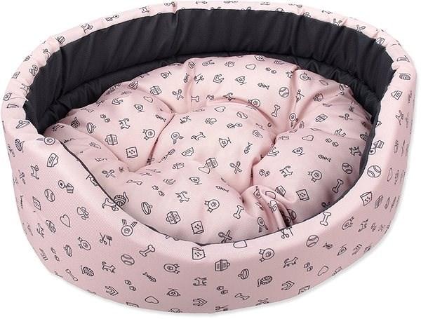 DOG FANTASY pelech oval 75×66×19cm piktogram mix růžový - Pelíšek pro psy