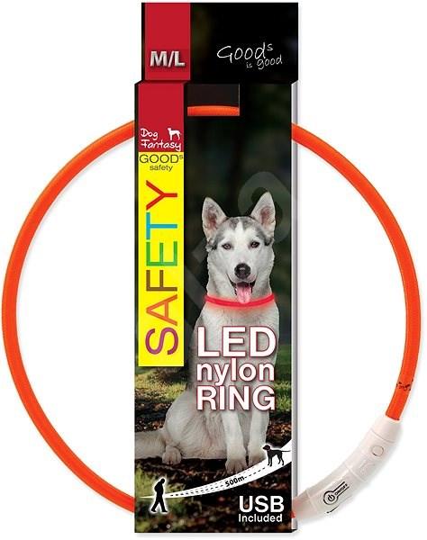 DOG FANTASY obojek LED nylon oranžový 65cm - Obojek pro psy
