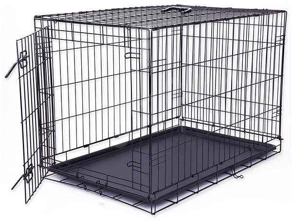 DOG FANTASY Folding Cage, L, Black, 1 Door - 91.5 x 63.5 x 58.5cm - Dog Cage