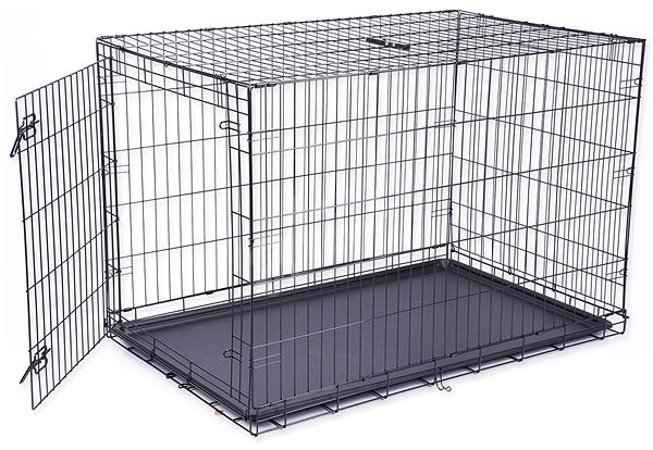 DOG FANTASY Folding Cage, XXL, Black, 1 Door - 122 × 84 × 76cm - Dog Cage