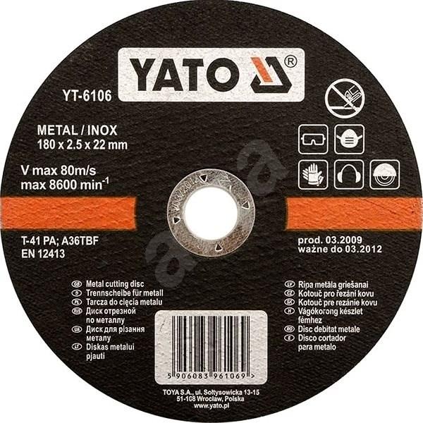 Yato Kotouč na kov 125 x 22 x 2,5 mm INOX - Řezný kotouč