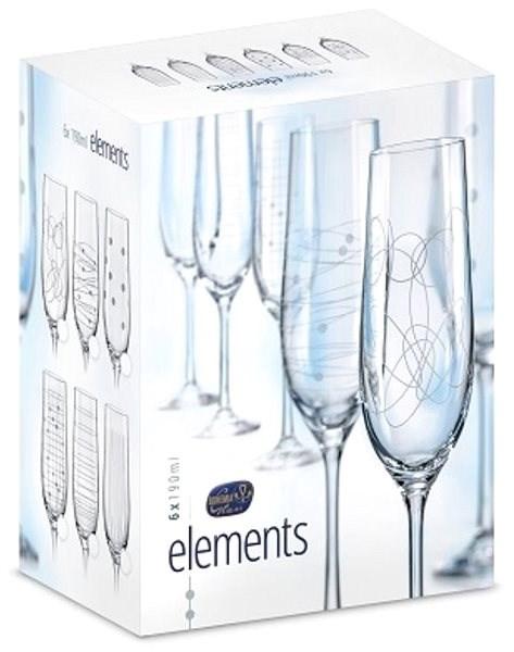 BOHEMIA CRYSTAL na šampaňské 190ml 6ks ELEMENTS - Sklenička na šampaňské