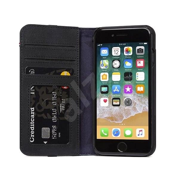 Decoded Leather Wallet Case Black iPhone 8/7/6s - Pouzdro na mobilní telefon