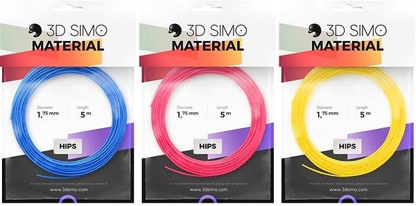 3DSimo Filament HIPS - modrá, růžová, žlutá - Filament pro 3D pera