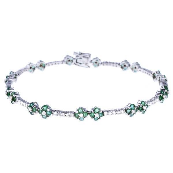 c724366ca Diamantový náramek z bílého zlata - 84 smaragdů, 71 diamantů 0.80ct ...