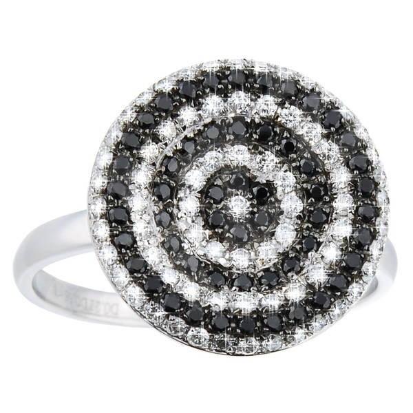Diamantový prsten z bílého zlata - 54 černých diamantů, 73 bílých diamantů, celkem 0.57ct -