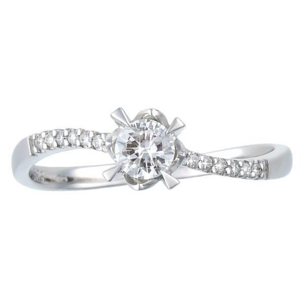 Diamantový prsten z bílého zlata - 13 diamantů 0.28ct -