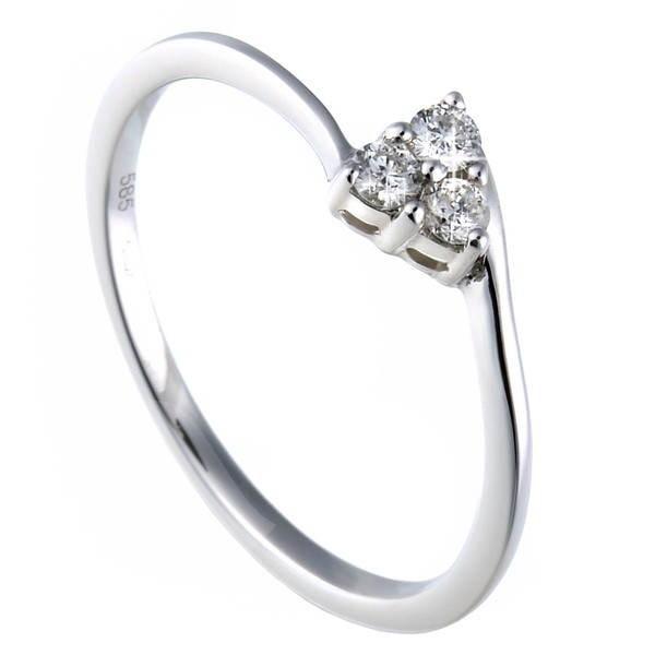 Diamantový prsten z bílého zlata - 3 diamanty 0.12ct -