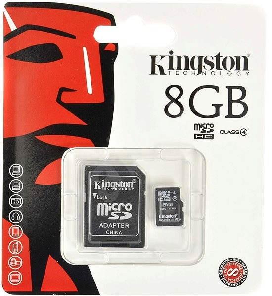 Kingston MicroSDHC 8GB Class 4 + SD adaptér - Paměťová karta