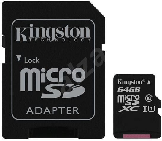 Kingston Canvas Select MicroSDXC 64GB UHS-I U1 + SD adaptér - Paměťová karta