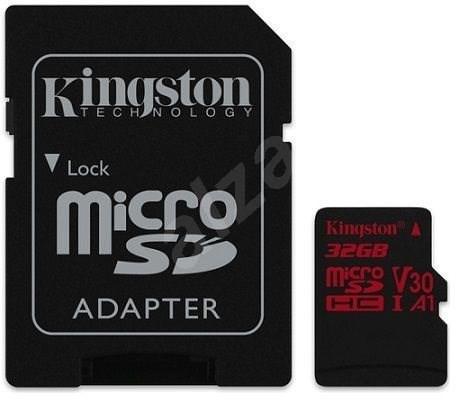 Kingston Canvas React MicroSDHC 32GB A1 UHS-I V30 U3 + SD adaptér - Paměťová karta