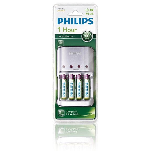 Philips SCB5660NB + 4xAA2600mAh - Nabíječka
