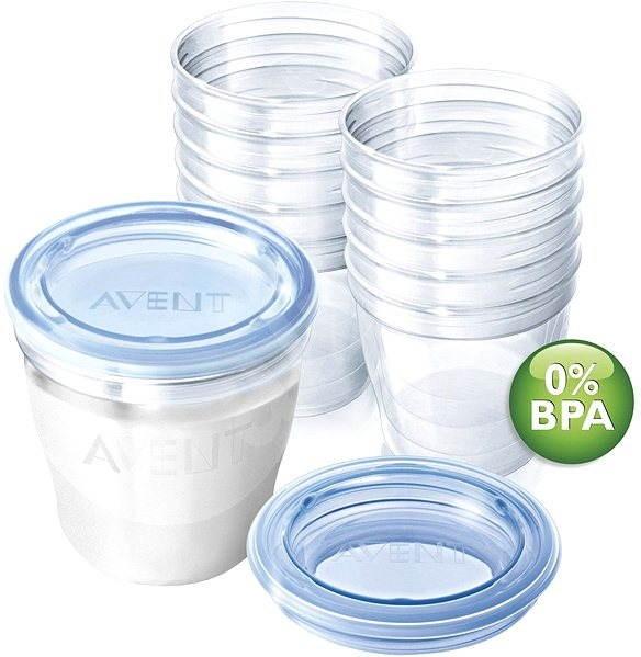 Philips AVENT VIA zásobníky mateřského mléka 10ks, VIA víčka 10ks, VIA adaptér 2ks -