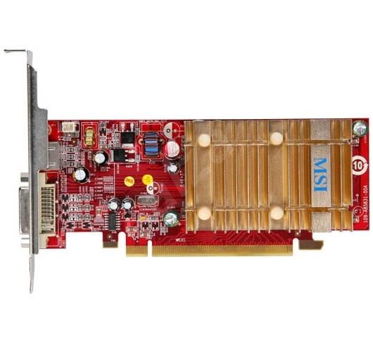MSI RX1550-TD256EH, 256MB (512) DDR2 (800MHz), ATI Radeon X1550 (550MHz), PCIe x16, 128bit, DVI, Pas - Grafická karta