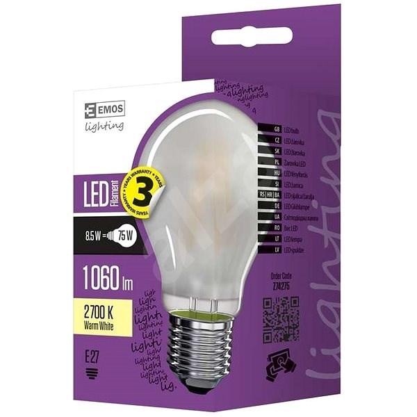 EMOS LED žárovka Filament matná A60 A++ 8,5W E27 teplá bílá - LED žárovka