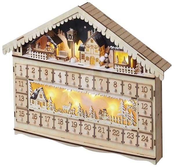 EMOS LED adventní kalendář, 19x40 cm, 2x AA, vnitřní, teplá bílá - Vánoční osvětlení