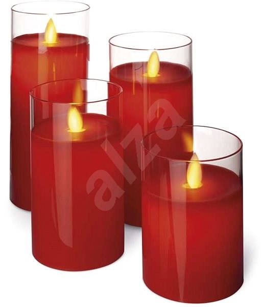 EMOS LED Candles, 7.5 × 10 / 12.5 / 15 / 17.5cm, Red, 2 × AA, 4 pcs - Christmas Candlestick