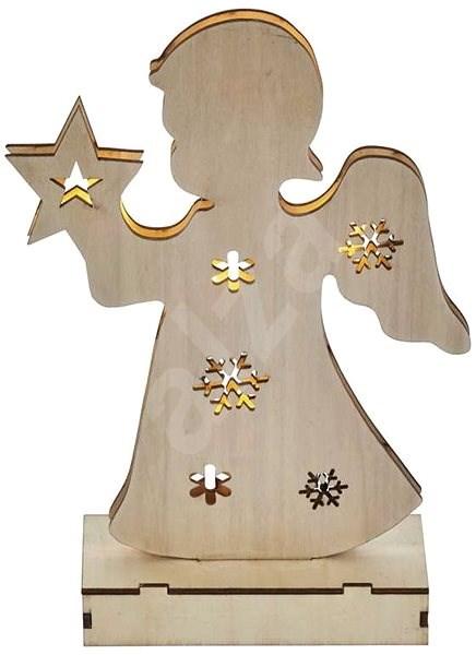 EMOS LED vánoční andělíček dřevěný, 2×AA, teplá bílá, časovač - Dekorativní osvětlení