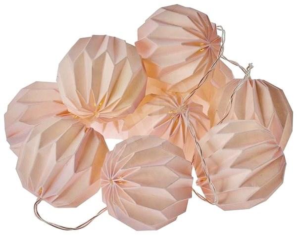 EMOS LED vánoční girlanda – 10× růžové pap. koule, 2×AA, teplá b., čas. - Dekorace