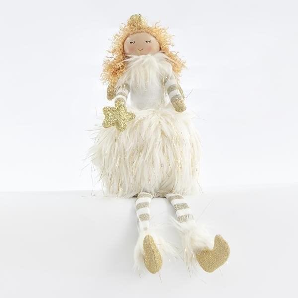 Sedící bílá princezna se zlatou hvězdou, 33 cm - Vánoční ozdoby