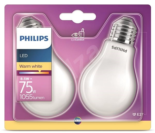 Philips LED Classic 8.5-75W, E27, 2700K, Mléčná, set 2ks - LED žárovka