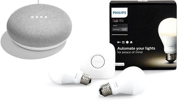 Philips Hue White 8.5W E27 starter kit + Google Home Mini Chalk - LED žárovka