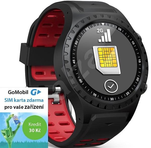 EVOLVEO SportWatch M1S Black Red, SIM - Chytré hodinky