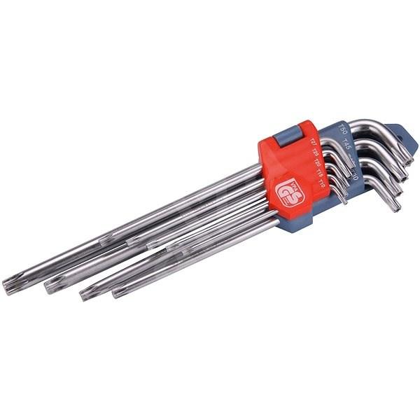 EXTOL PREMIUM L-klíče TORX prodloužené, sada 9ks, T10-50mm - Sada torx