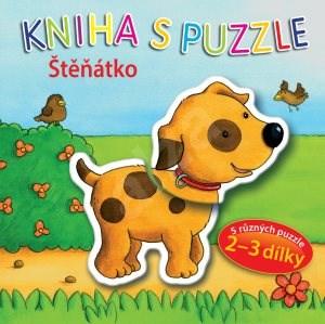 Kniha s puzzle Štěňátko: 5 různých puzzle 2-3 dílky -