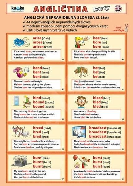 Angličtina karty 3 - nepravidelná slovesa -